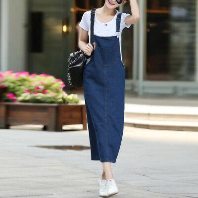 UK New Women's Denim Jeans Loose Sleeveless Dungaree Pinafore Long Dress Kaftan