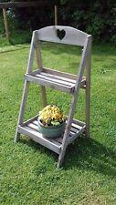Grey rustic shabby chic wood plant stand shop display garden shelf wedding party