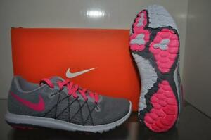 cc37663980b08 Nike Girls Flex Fury 2 Running Shoe 820287 002 Grey Pink NIB