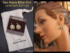 "Alexis Bittar 1.25"" Crystal KIWI Pierced ROMANTIC Earrings, Storage Bag NEW $175"