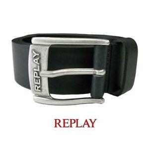 REPLAY-cintura-da-uomo-misura-110-cm-vero-cuoio-nero-pelle-made-in-Italy-cinghia