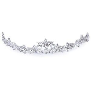 Rhinestone-Crystal-Flower-Bridal-Crown-Headband-Veil-Tiara-Wedding-Prom-New-BT