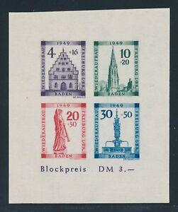 BADEN-1949-Block-1-B-PLF-V-034-Plattenfehler-034-Tadellos-Mi-300