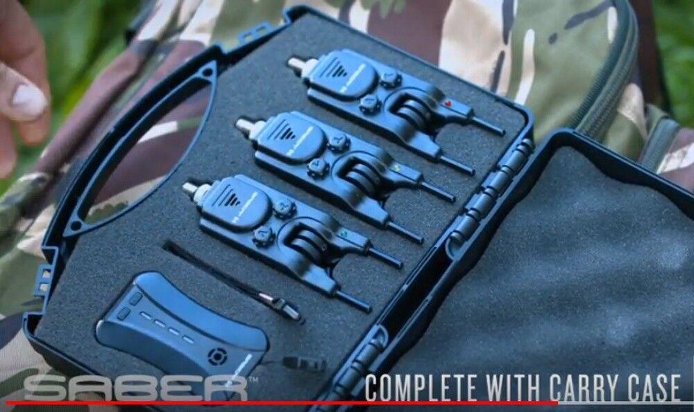 Saber S4 Wireless Bite Alarm Set 3 Alarms, Receiver + Snag Bars Carp Fishing