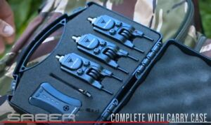 Saber-S4-Wireless-Bite-Alarm-Set-3-Alarms-Receiver-Snag-Bars-Carp-Fishing