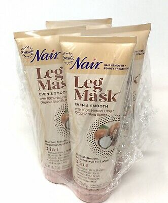 4pk Nair Leg Mask 3in1 Even Smooth Hair Remover Clay Organic