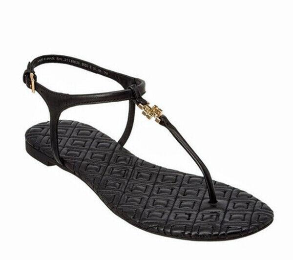 ny TORY BURCH MARION KVIDIGT Läder Sandals BLAK guld Logo Storlek  225