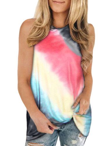 Plus Size Womens Ombre Loose Tank Tops Tie Dye Sleeveless Vest T-Shirt Tee Vest