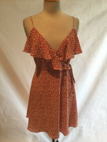 Bailey/44 faux wrap sundress red floral spaghetti