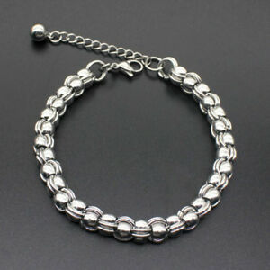 Silver-Stainless-Steel-Chain-Punk-Cuff-Bangle-Bracelet-Charm-Unisex-Men-Jewelry