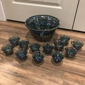 Indiana-Harvest-Grape-Style-Carnival-Glass-Set-of-Punch-Bowl-and-12-Cups