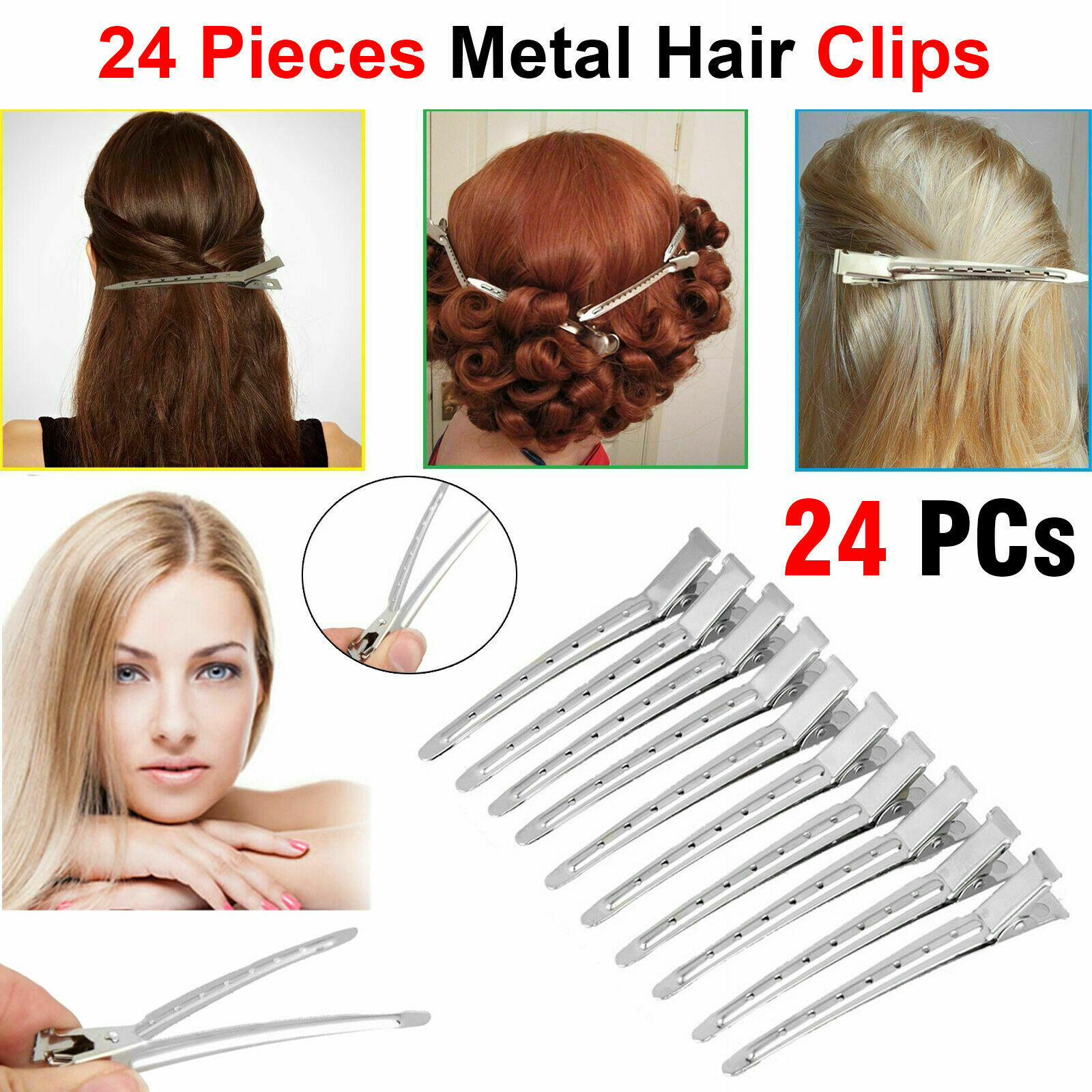 24Pcs Plastic Hair Sectioning Clips Crocodile Hairdressing Salon Grip Clamps