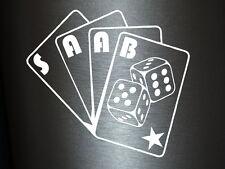 1 x 2 Plott Aufkleber Saab Poker Karten Sticker Tuning Shocker Decal OEM NEU ILL