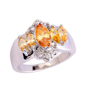 New-Marquise-Cut-Morganite-White-Gold-Topaz-Gemstone-Silver-Ring-Size-7-8-9-10