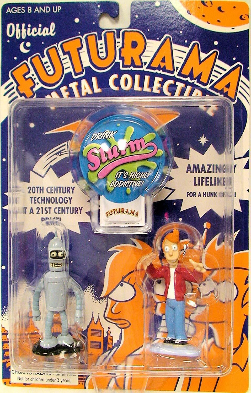 Futurama Metal Coleccionable Bender y Fry Figura Set Rocket USA 2001