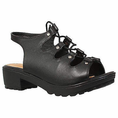 NEW GIRLS KIDS PLATFORM CUT OUT BLOCK CLEATED HEEL LACE UP SANDALS SHOES