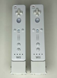 (2) Two Nintendo Wii Remote White RVL-003 and Motion Plus Adapter RVL026 Lot OEM