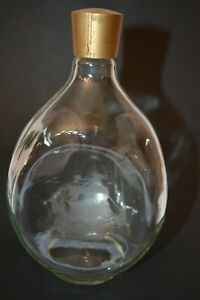 Vintage-Haig-Whiskey-3-Sided-Dimpled-Glass-Triangle-Bottle-w-Ship-Palm-Tree