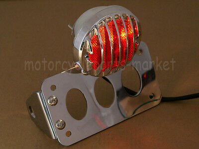 New Chrome Metal Axle Side Mount License Plate Rear Taillight Bracket For Harley