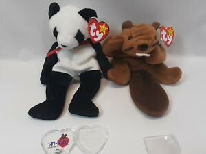 """TY Retired Beanie Babies """"Bucky"""" the Beaver And """"Fortune"""" the Panda Bear"""