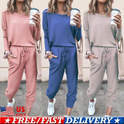 USA Women/'s 2Pcs Hoodie Sweatshirt Sports Pants Casual Tracksuit Wear Sweat Suit