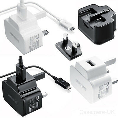 SAMSUNG 2A MAINS CHARGER & USB DATA CABLE FOR SAMSUNG GALAXY PHONES / NOTE / TAB