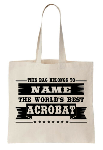 Personalised Tote Bag Shopper World/'s Best Acrobat Name Gift Gymnast Circus Cool