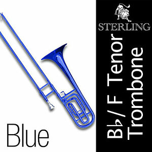 Bb-F-Tenor-STERLING-Trombone-BLUE-Brand-New-With-Case-and-Accessories