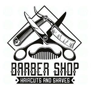 barbers shop front window sticker sign decal salon modern