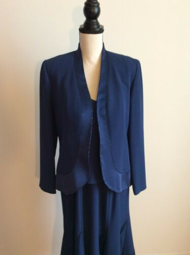Daymor Couture Long Blue Dress with Jacket, Beaded