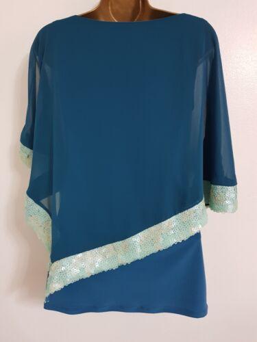 Ex Wallis 10-20 Batwing Sequin Embellished Cold Shoulder Green Teal Top Blouse