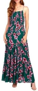 Free-People-Garden-Party-Maxi-Dress-Tiered-Floral-Green-Pink-Boho-OB580623