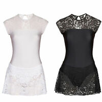 Lace And Lycra Leotard With Attached Lace Skirt Gym Dancewear Black White Uk