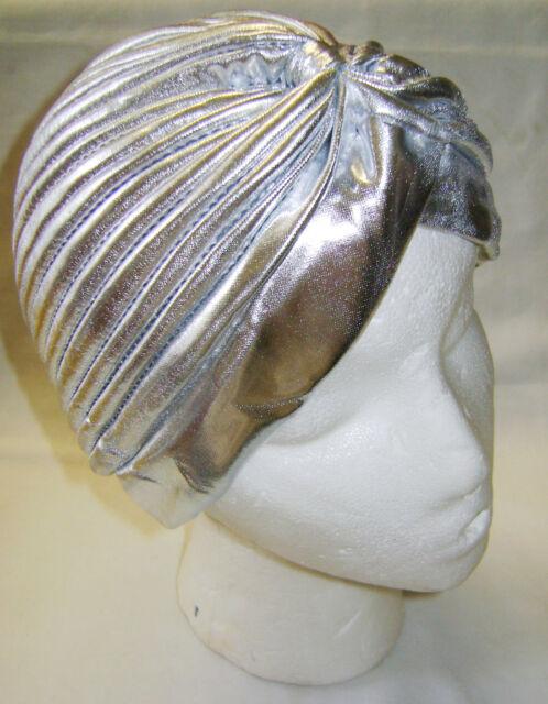 NEW HEAD WRAP INDIAN STYLE TURBAN HAT. METALLIC SILVER