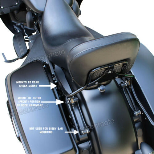 09-UpHarley Touring Electra Street Glide Gloss Black Quick Release Sissy Bar+Pad