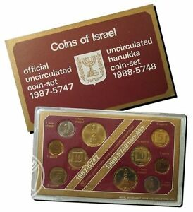Israel-1987-amp-1988-New-Sheqel-Official-Hanukka-Coins-Mint-Set