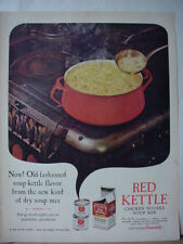 1963 Red Kettle Soup by Campbell's on Wood Burning Stove Vintage Print Ad 10496