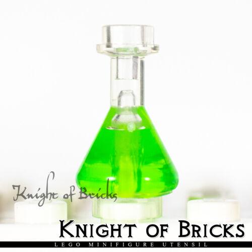LEGO Minifigure TRANS CLEAR Utensil Bottle Erlenmeyer Flask w Green Fluid