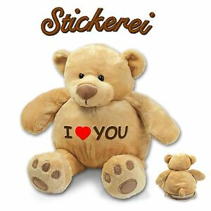Flauschiger Teddybär Teddy bestickt Stickerei Liebe Valentinstag waschbar 42cm