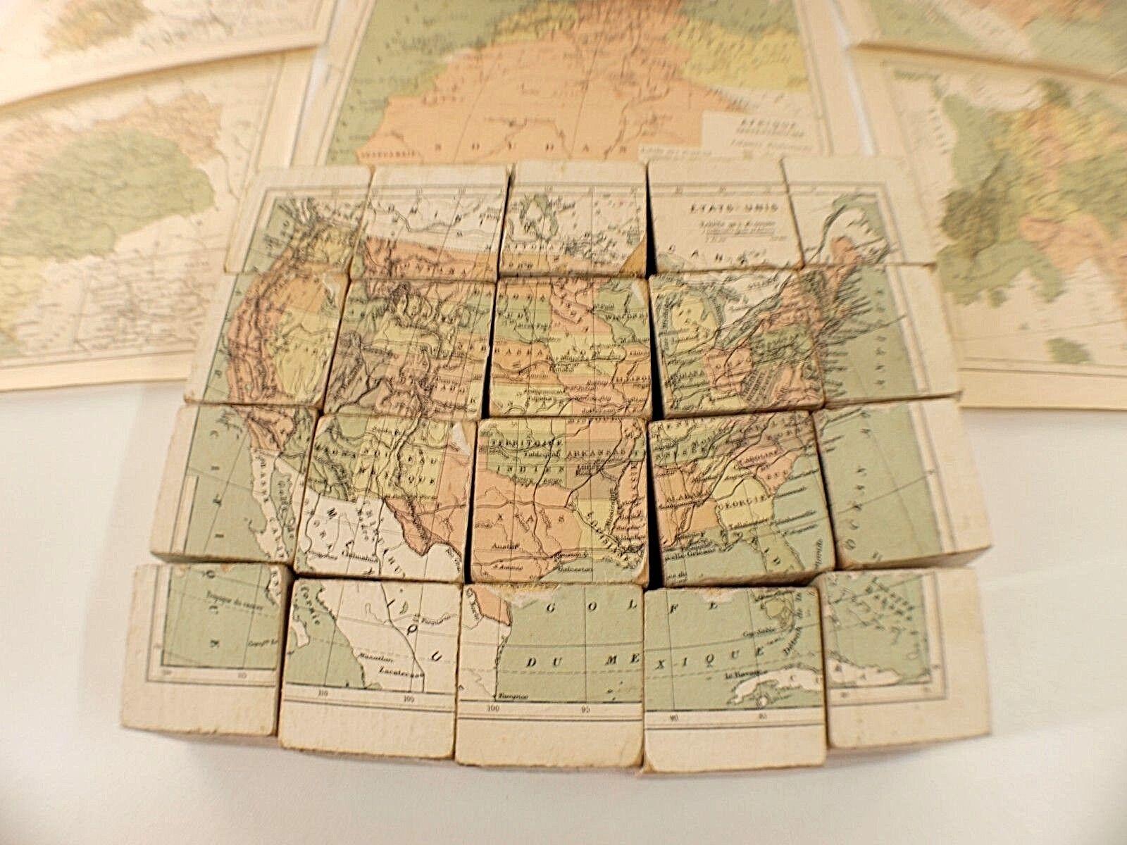 Jeu de cubes France en bois Europe Europe Europe Amérique Allemagne Afrique boite années 1900 7361d9