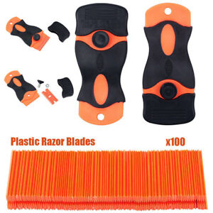 100 Plastic Razor Blade With 2 Scraper Edge Stickers Paint Clean Water Wiper UK 607111165972
