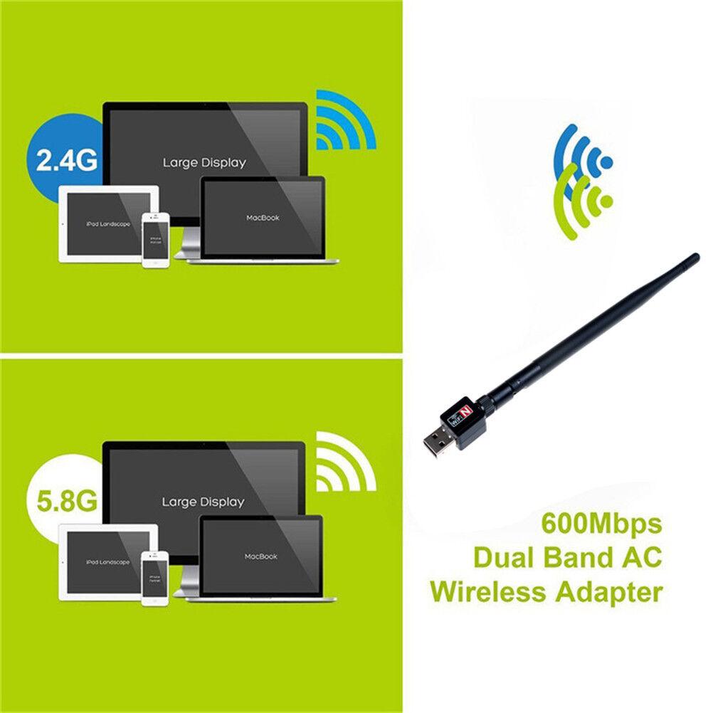 2.4 600Mbps dual band wireless usb wifi network lan adapter antennRKUS