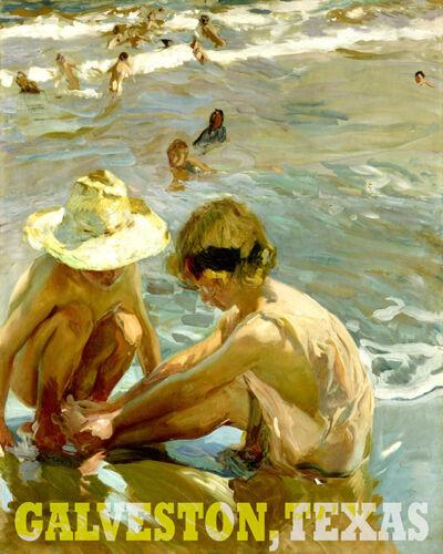 POSTER GALVESTON TEXAS BEACH CHILDREN PLAY SUMMER TRAVEL VINTAGE REPRO FREE SH