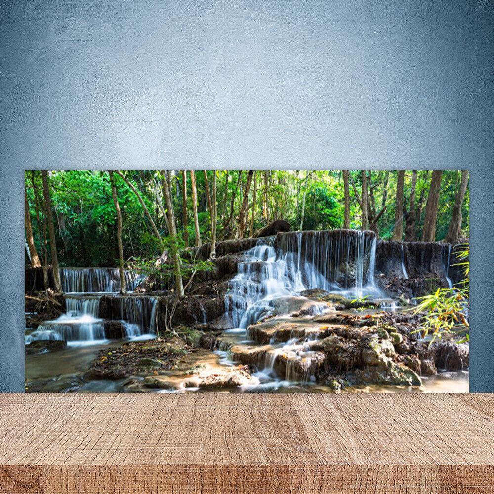 Crédence de cuisine en verre Panneau Paroi 100x50 Nature Forêt Chute D'eau