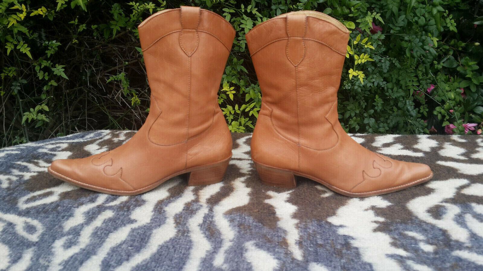 Paul Green Green Green Munchen light brown leather Cowboy boots UK size 7 EU 41 cbe0dd