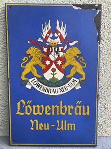 Altes Emailschild Neu-Ulm Löwenbräu Orginal Bier Brauerei Schild