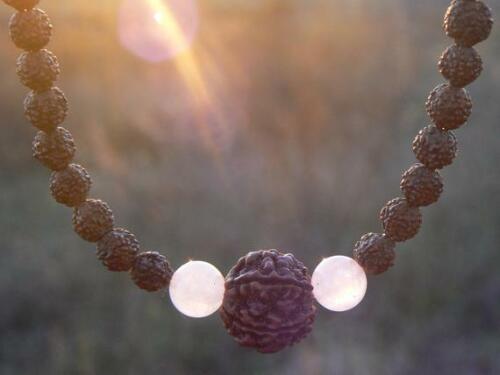 Healing mala HANDMADE Rudraksha necklace Rose quartz bead Shakti Shiva jewelry
