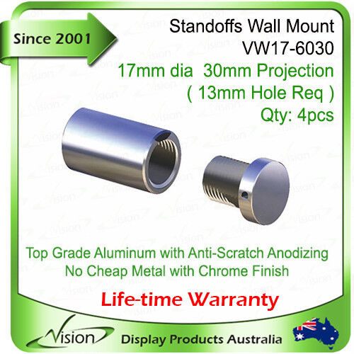 4x Wall Mount Stand Offs Signage standoff Panel Fixings Acrylic Wall Supports