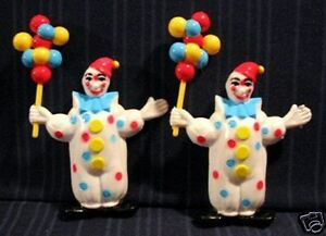 4-Vintage-Hard-Plastic-Toy-Clown-W-Balloons-Old-Stock