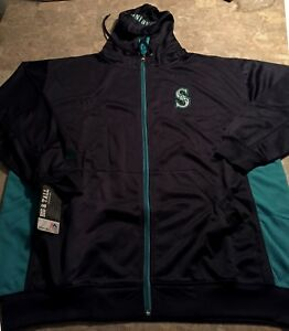 Seattle-Mariners-Full-Zip-Hoodie-2XL-Navy-Teal-Trim-Double-Logos-Majestic-MLB